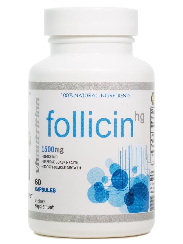 VH Nutrition Follicin hg dht bloqueador para hombres y mujeres tratamiento de crecimiento natural del cabello: Amazon.es: Salud y cuidado personal