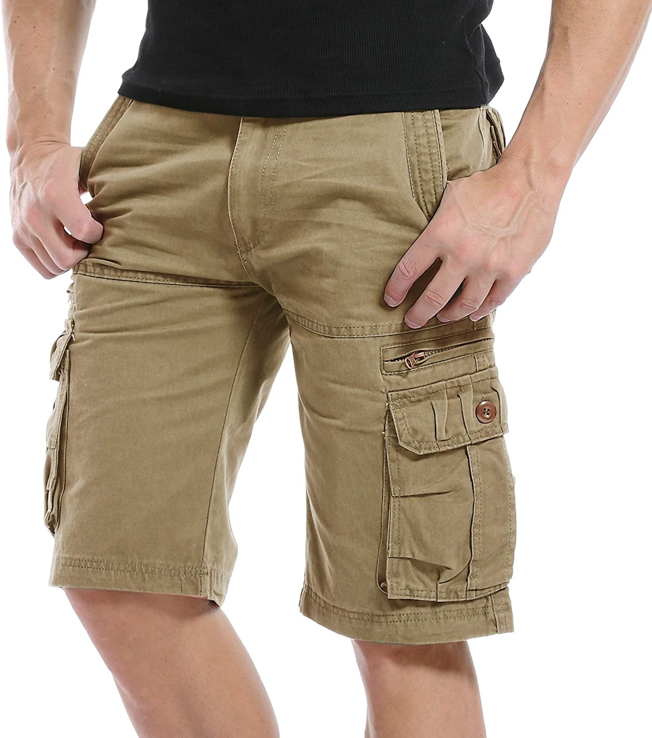 LANBAOSI Mens Cargo Shorts Big and Tall Multi Pocket Cotton Twill Classic Fit Casual Short