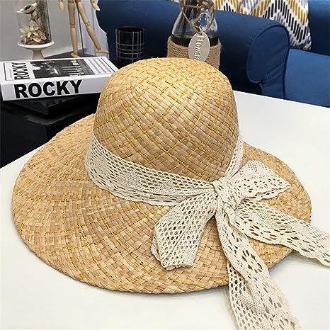 Yisaesa Sombrero de Paja Sombrero de ala Grande Sombrero para el Sol  Sombrero de Playa de cdc1f60a450