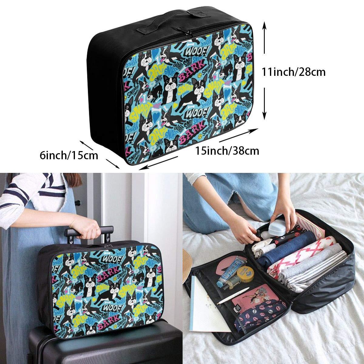 Lightweight Large Capacity Duffel Portable Luggage Bag Boston Terrier Pop Art Travel Waterproof Foldable Storage Carry Tote Bag