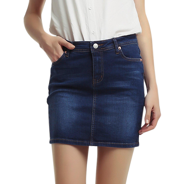 Lisli Womens Pencil Skirt A-Line Short Skirt Stretch Denim Jean Mini Skirt
