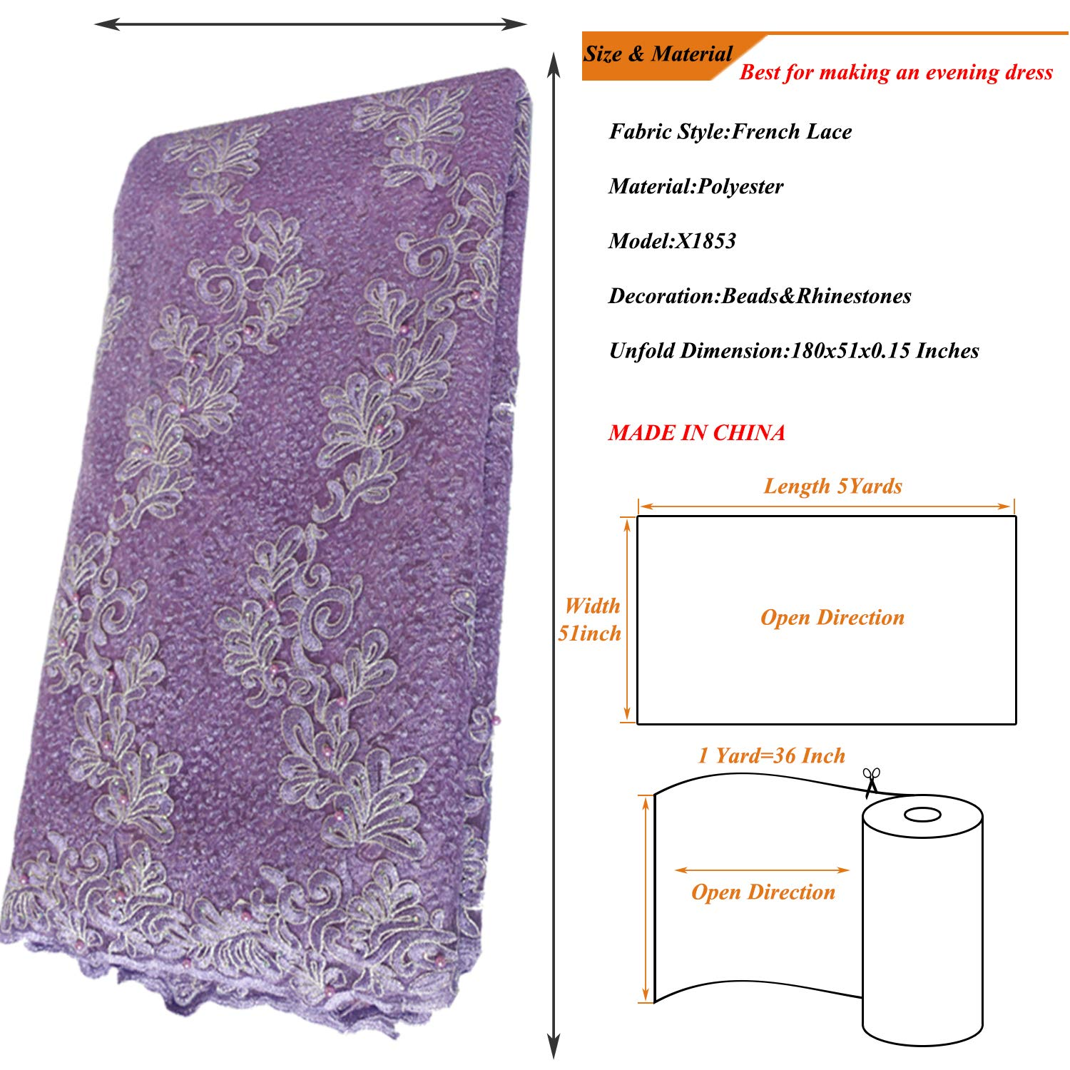 Amazon.com  SALAMUTU African French Lace Fabric 5 Yards Nigerian  Eco-Friendly Embroidery Lace Fabric with Rhinestones and Beadsfor Party  Dress Formal ... c895701f202e