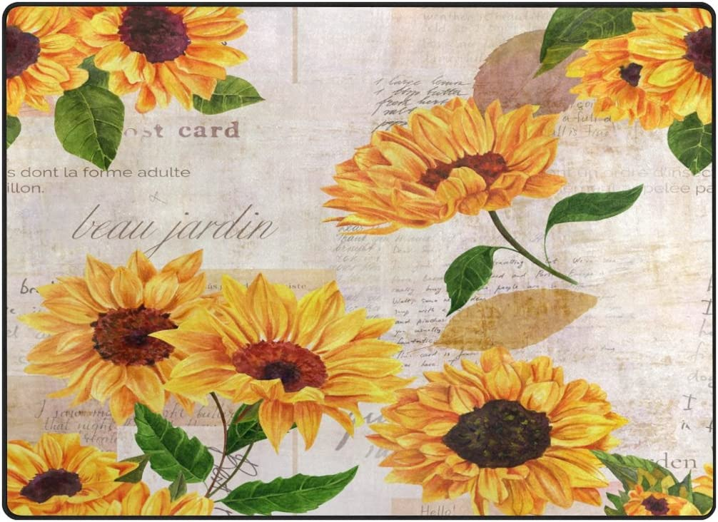 ALAZA Vintage Sunflower Butterfly Oil Painting Artwork Area Rug Rug