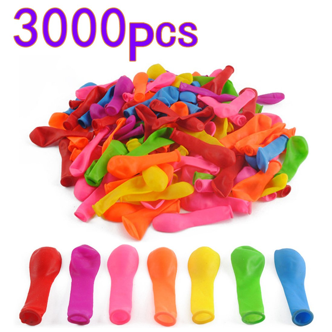Goshfun 3000 Pcs Water Balloons Refill Kit Instant Water Latex Water Bomb Balloons Summer Splash Fun for Kids Adults - Colorful by Goshfun