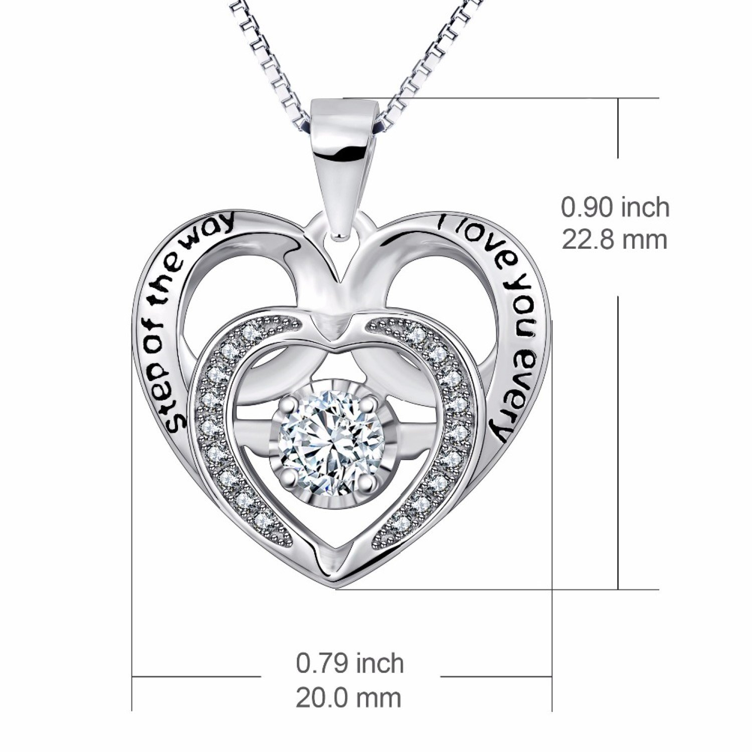 CS-DB Crystal Heart to Heart Forever Love Pendants Silver Necklaces