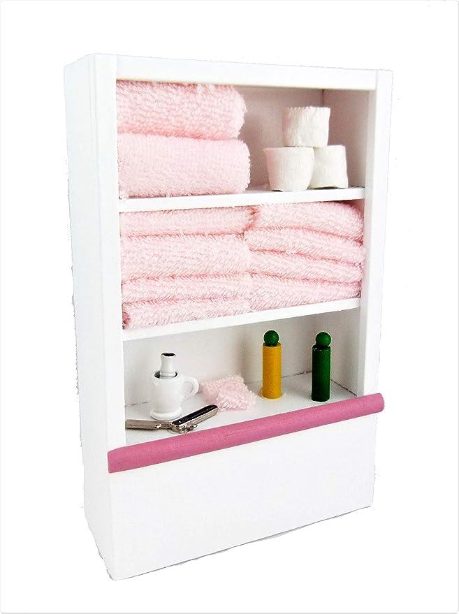 Dollhouse Miniature White /& Lilac Bathroom Shelf Cabinet n inch M4W9 1:12 s