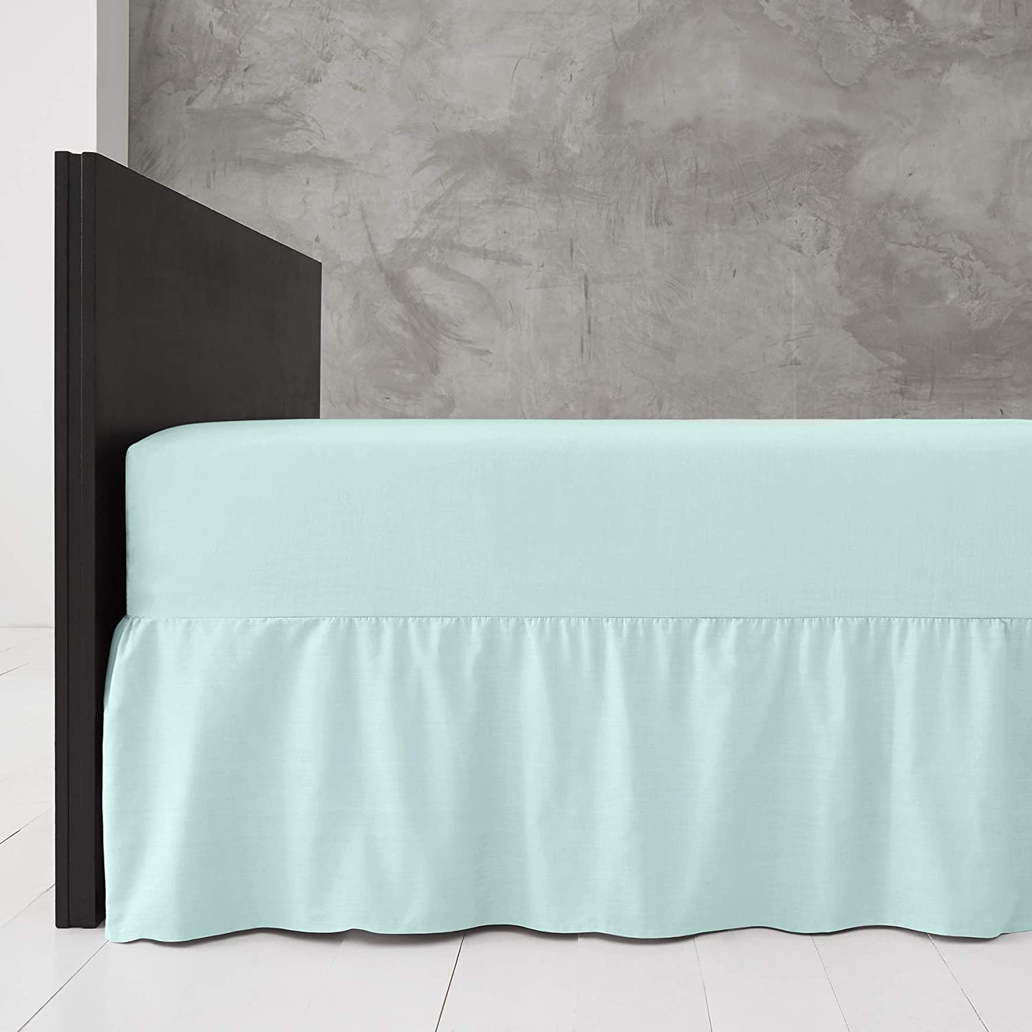 Plain Extra Deep Frilled Valance Fitted Sheet in 28 Colours Black, Double