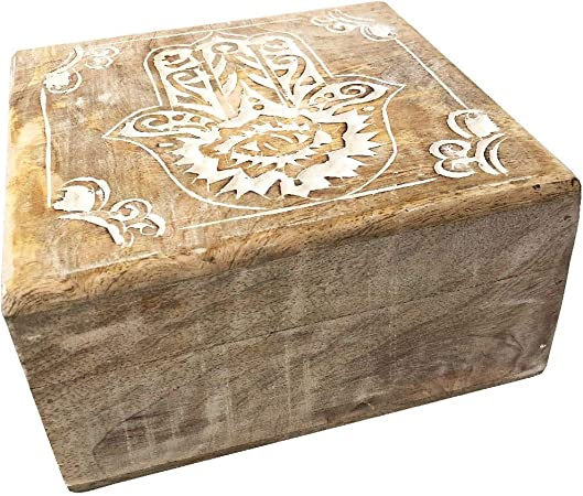 Zen et Ethnica - Caja de Madera para la Mano de la Fátima (tamaño Grande): Amazon.es: Hogar