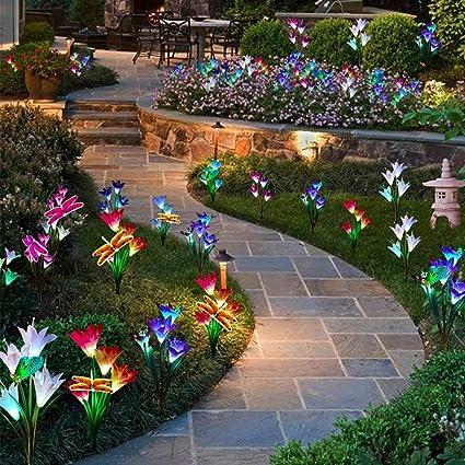 Homeofying 2 Unids Energía Solar Artificial Dragonfly Lily LED Color de Césped Luz Jardín Decoración Lámpara Patio Luz Césped Luz: Amazon.es: Belleza