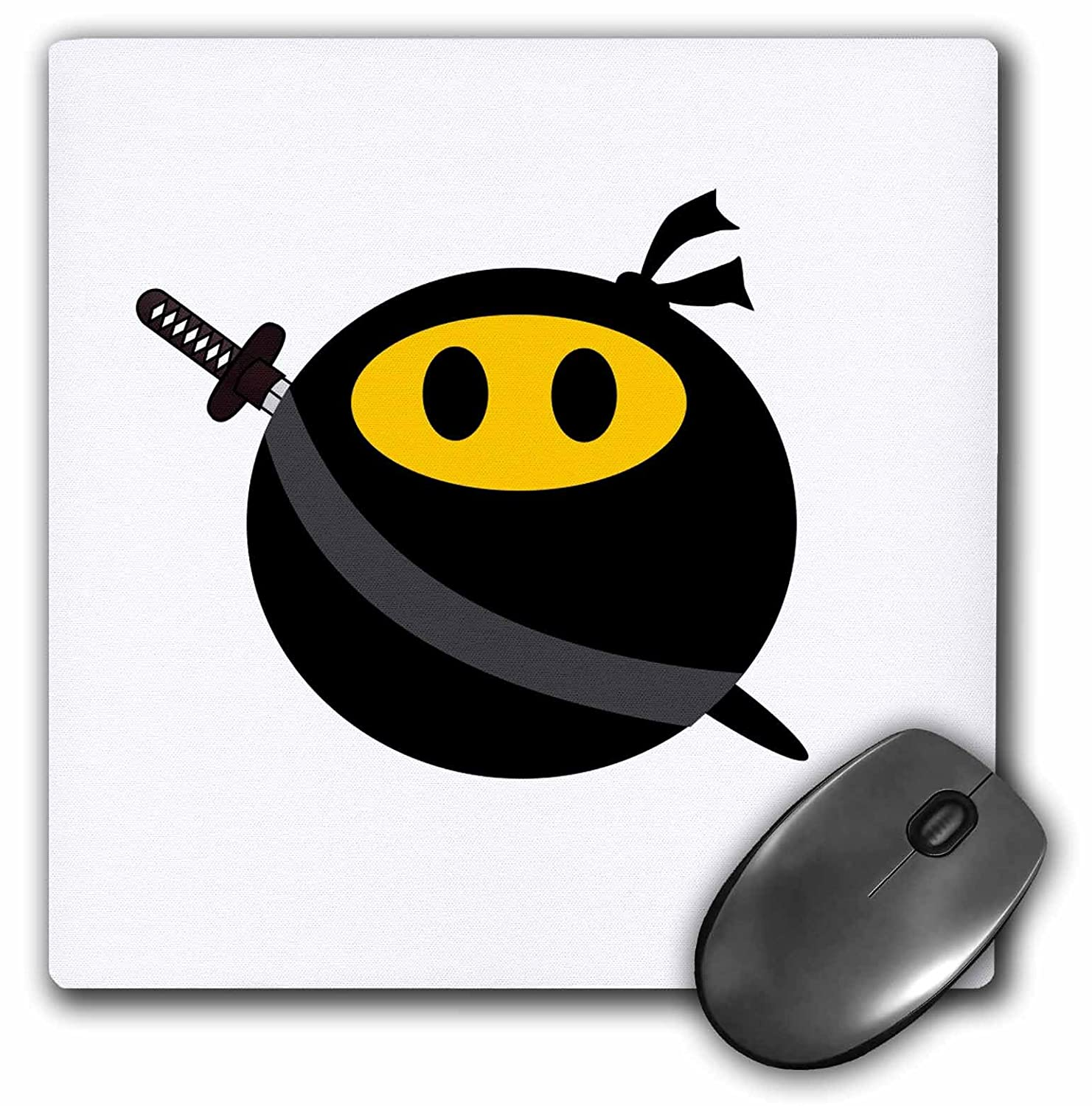 3dRose 8 x 8 x 0.25 Inches Mouse Pad, Ninja Smiley Face (mp_123167_1)