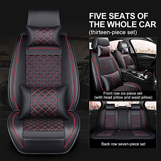 Black PU Leather Car Seat Covers Cushion Covers Front Driver Passenger Seat Mat