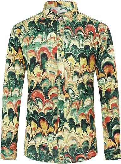 Allthemen Camisa de vestir de manga larga para hombre con estampado de lino informal y estampado floral