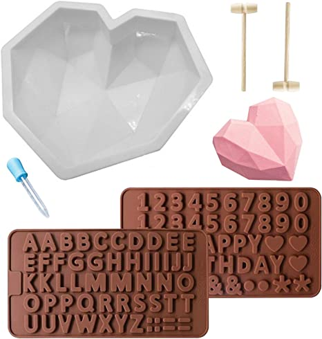 Brown Diamond Heart Shaped Mousse Cake Mold Trays 8.7 inch Silicone Dessert Baking Pan Safe Not Sticky Mould with 4 Pcs Wooden Hammers and 2 Chocolate Molds for Valentine Candy Chocolate Making