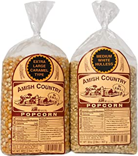product image for Amish Country Popcorn | 2 - 2 lb Bags | 2 lb Medium White and 2 lb Extra Large Caramel Type Popcorn Kernels Bundle | Old Fashioned with Recipe Guide