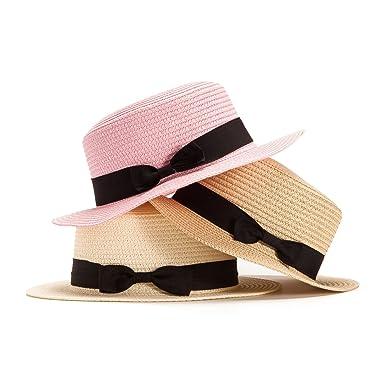 LADYBRO Boater Hat Summer Beach Sun Straw Hat Flat Brim Panama Hat Skimmer  Hat 3 Packs eac3ca0e5d5