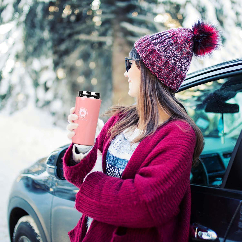 Viaggio caff/è Thermos Isolato Bottiglia Acqua Termica Acciaio Inox Senza BPA Travel Mug con Filtro per Bevande Calde e Fredde Bevande t/è caff/è Acqua 380ml QIMEI-SHOP Tazza Termica