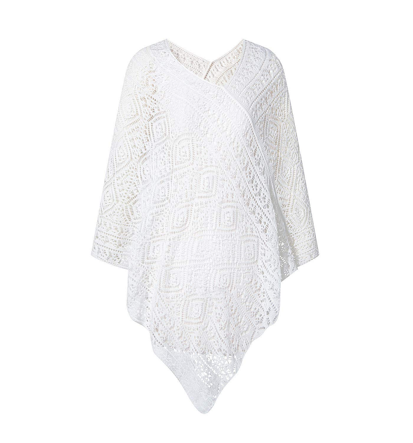 Puli V-neck Pullover Crochet Poncho Ultra Soft Kintted Shawl Cover Up Cape Milky White