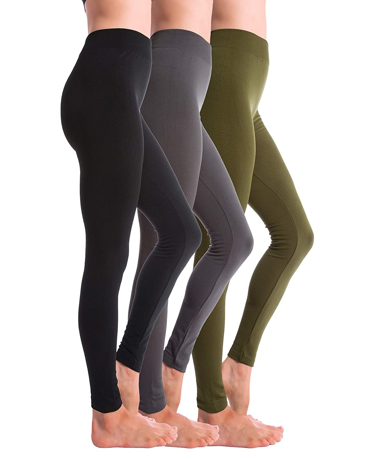 Black Grey Olive Homma 3Pack Fleece Lined Thick Brushed Leggings Thights