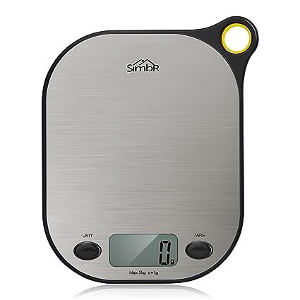 SIMBR – Báscula de cocina electrónica, con función de tara y orificio para colgar, alta precisión, entre 2 y 5 kg, incluye pila: Amazon.es