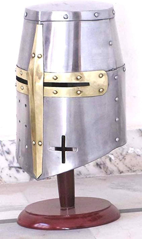 Silver LARP//SCA//Medieval Thor Crusaders Templars Knight Helmet