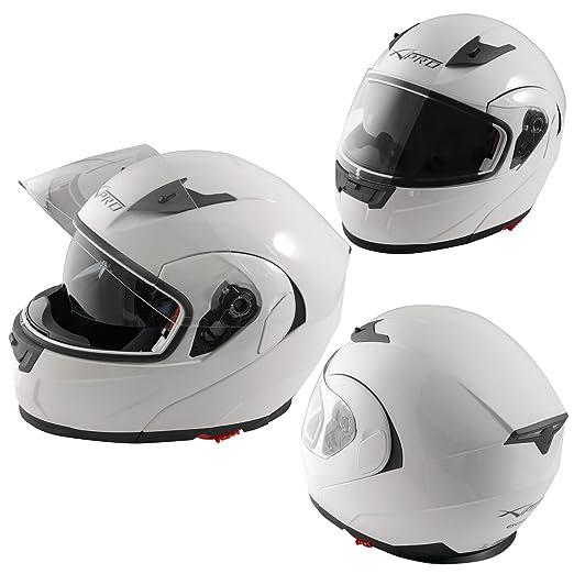9 opinioni per Casco Modulare Apribile Moto Touring Visiera Interna Parasole Viaggio Bianco L