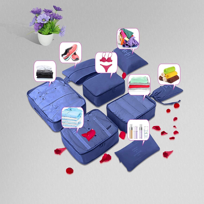 Blau f/ür Reise Kleidung Schuhe Kosmetik 3 * Aufbewahrungsbeutel 3*Packw/ürfel Koffer Organizer 1*Unterw/äsche Tasche Redmoo 8 teilig Kleidertaschen Gep/äck Organizer Set Umfassen 1*Schuhbeutel