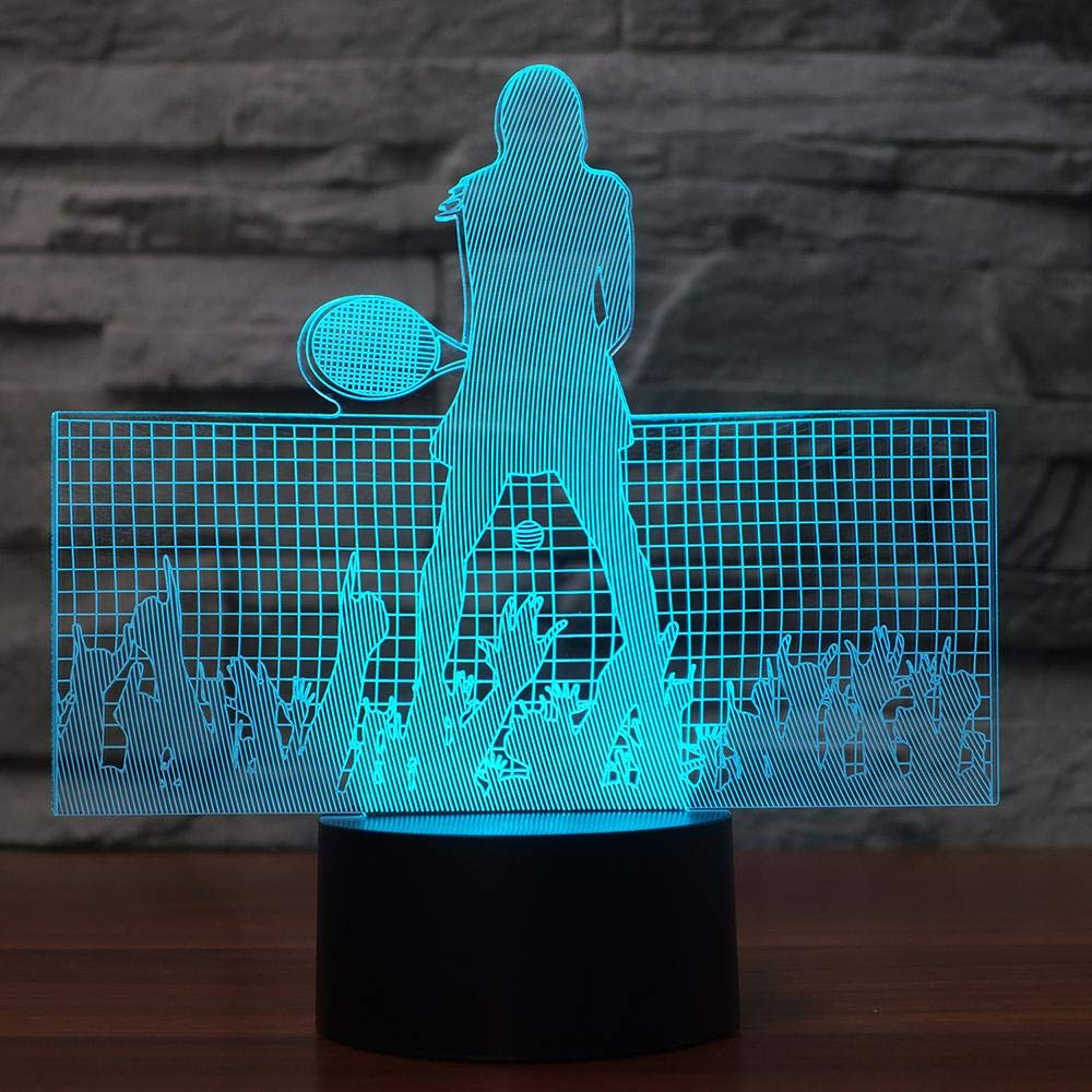 Amazon.com: 3D Led Night Light 7 Color Change USB Tennis ...