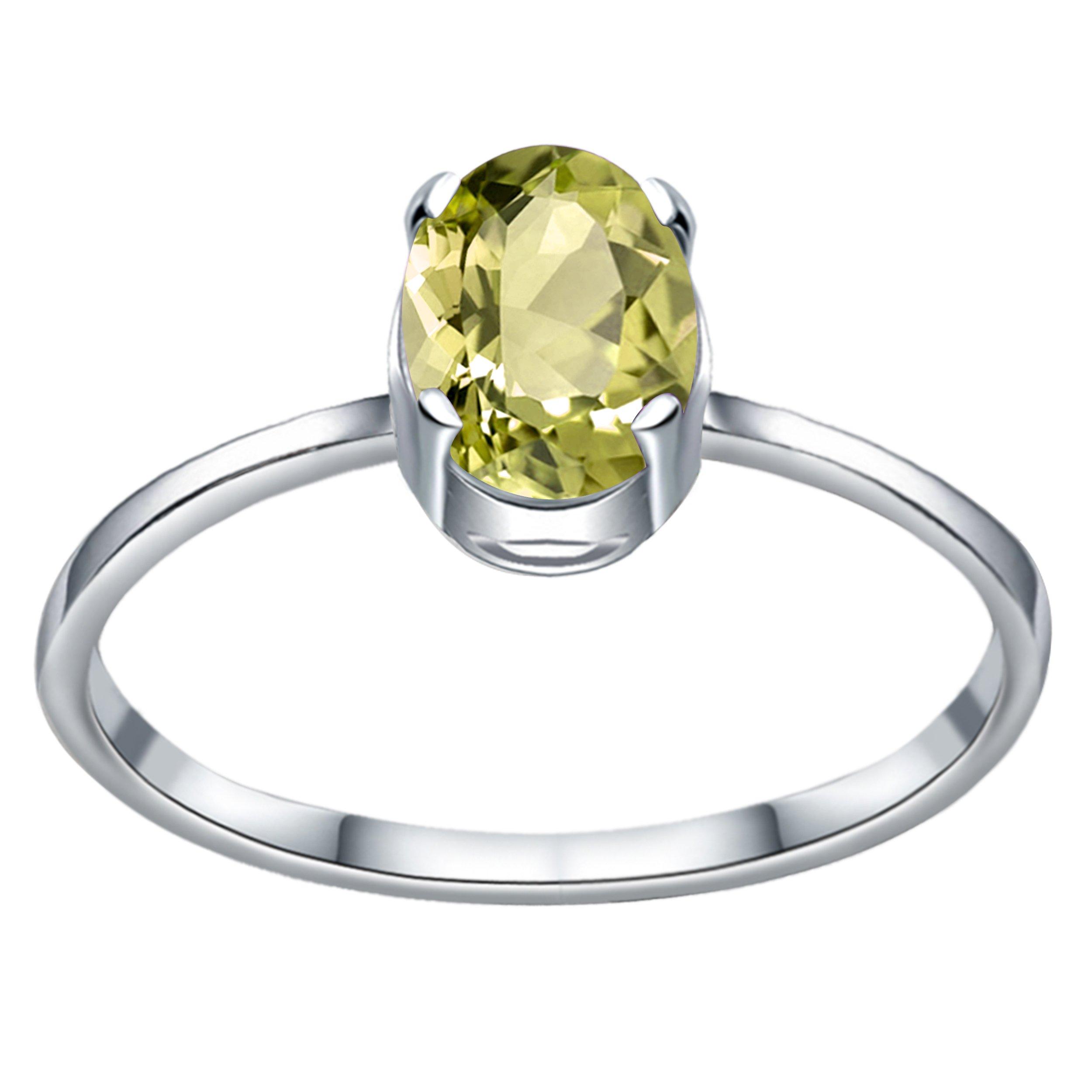 925 Sterling Silver 0.75 Carat Lemon Quartz Ring