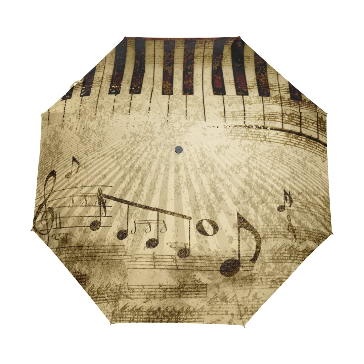My Daily Piano Key Music Note Vintage Travel Auto Open/Close Umbrella with Anti-UV Windproof Lightweight