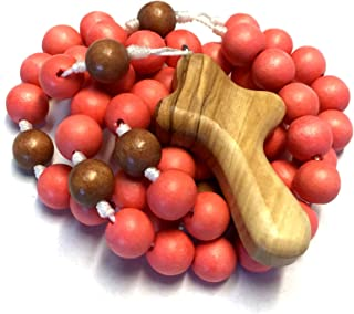 Wooden Rosary in Dark Coral Orange Wood Beads with Bethlehem Olive Wood My Caring Cross