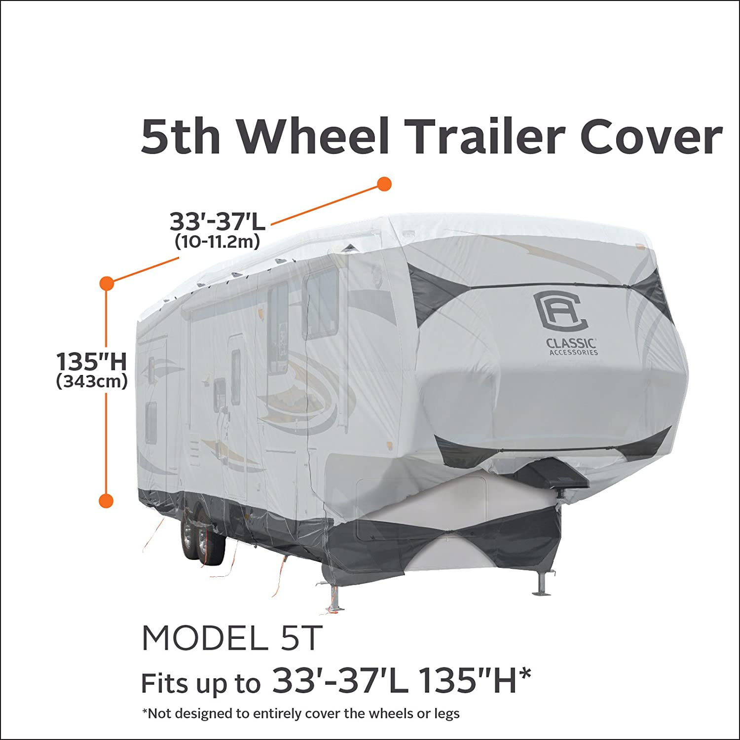Classic Accessories SkyShield Heavy Duty 5th Wheel Trailer Cover 135 Max H For 33-37 L