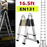 Bowoshen 16.5FT Aluminum Telescoping Extension Ladder 330lbs Max Capacity A-Frame Lightweight Portable Multi-Purpose…