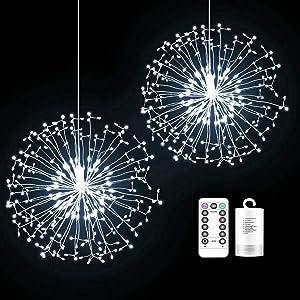 SUNSET Firework Lights -Copper Wire Firework Lights 150-LED Starburst Lights Hanging Lights, Remote-Controlling, Firework Fairy Lights, Starburst Battery Christmas Decor Lights (Cold White,2-Pack)