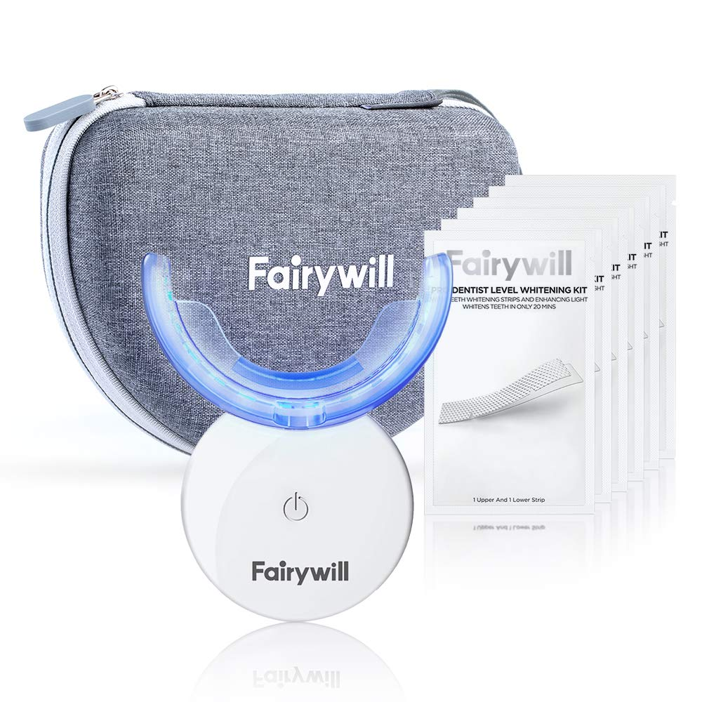 Teeth Whitening Strips with Light, 42 Dentist-Level 3D Whitestrips with Light, Rechargeable 24X Blue Accelerator, Enamel Safe Teeth Whitening Kit, Travel Case Include by Fairywill