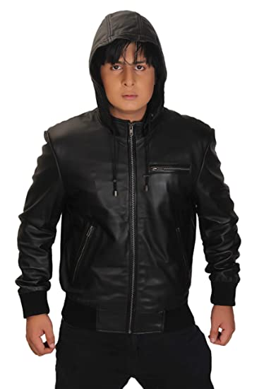 Men s Black Hooded Leather Bomber Jacket (XS - Suitable for Chest size ... 58e8c3a45