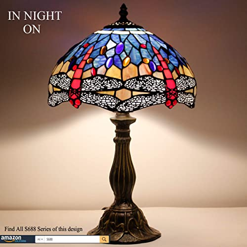 Tiffany Lamp Blue Red Stained Glass Crystal Bead Dragonfly Style Table Reading Light W12H18 Inch S688 WERFACTORY Lamps Parent Friend Lover Kid Living Room Bedroom Office Study Bar Bedside Craft Gift