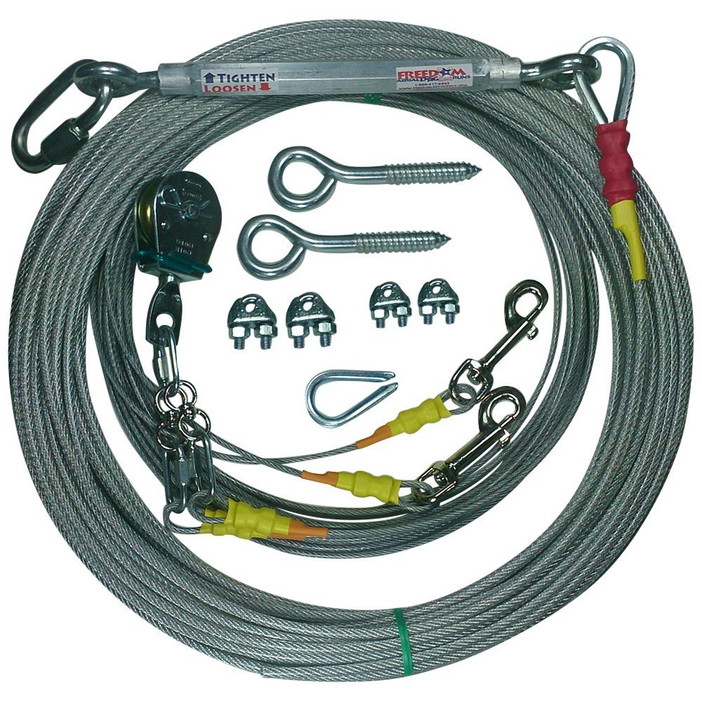 125 FT Freedom Aerial Double Dog Trolley Run Cable 2 Dogs FADRDD500 (Medium Dogs, 50 FT)