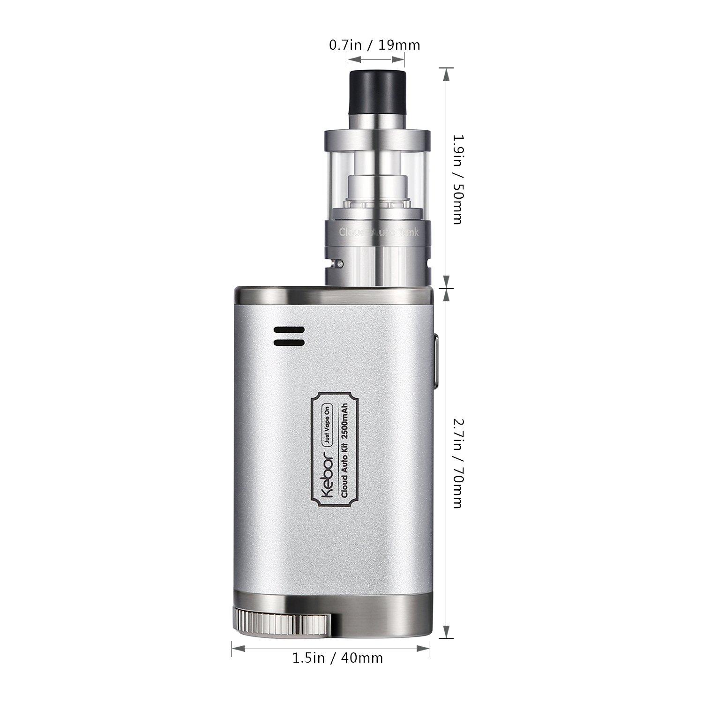 Innokin Cigarrillo Electrónico, Kebor® Cloud Auto 40W Box Mod Kit 2500mAh 18650 Batería Reemplazable, 2ml Vapeador 0.5 y 1.2ohm, DTL y MTL, Control de Flujo ...
