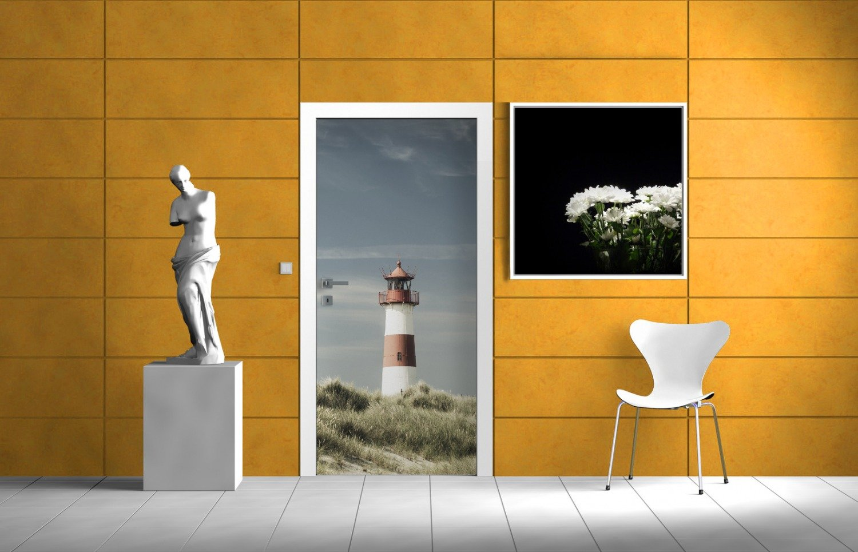 posterdepot ktt0686 T/ürtapete T/ürposter Leuchtturm auf der D/üne am Strand-Gr/ö/ße 93 x 205 cm