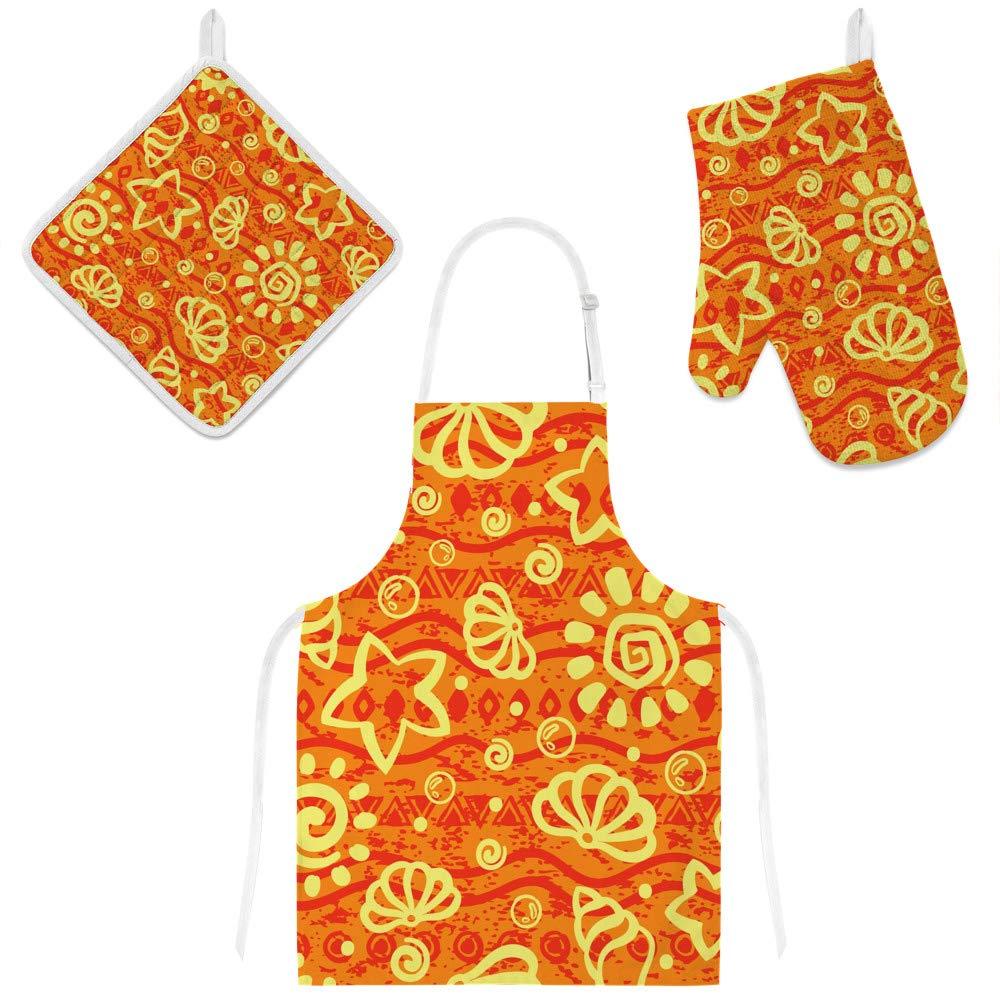 U-Life Apron with Glove Oven Mitt Pot Holder Set Orange Cute Ocean Sea Shells Starfish for Women Men Kids