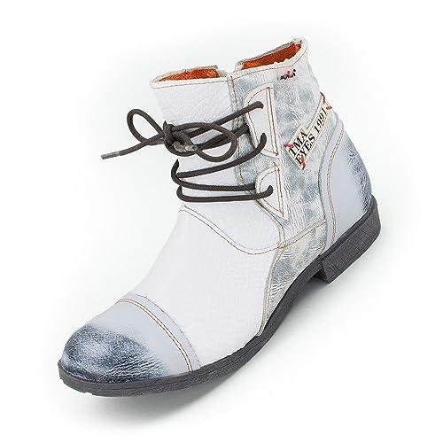 TMA Damen Comfort Leder Stiefeletten 5161 Boots Schwarz Grün