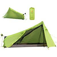 Andaker 1.6lb Ultralight Backpacking Tents One Person Man Hiking Single Camping Tent 15D Ultra-Thin Ripstop Nylon, Double-Side Silicone Coated(No Poles)