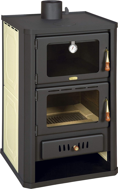 Estufa de leña con horno para sistema de calefacción central. Potencia de calentamiento de 15+5 kW.