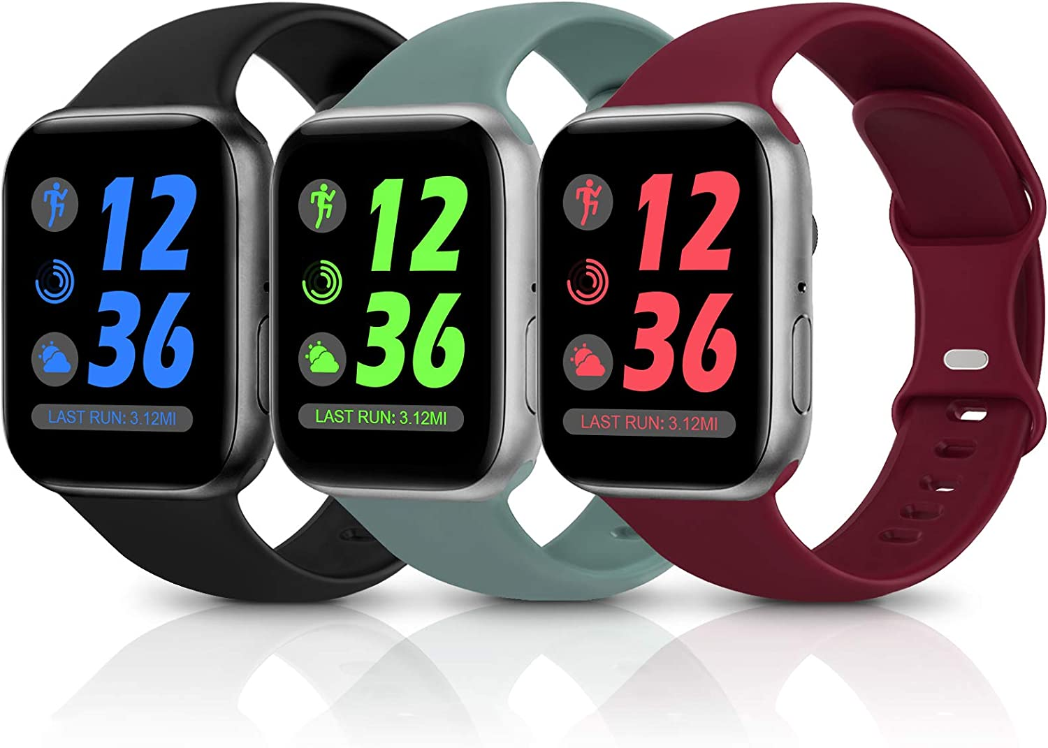 Sport Silicone Band Compatible with Apple Watch Bands 38mm 40mm 42mm 44mm,Soft Replacement Wristbands for iWatch Series 1/2/3/4/5/6/SE,Women Men,3 Pack(Black/Wine Red/Cactus,38mm/40mm-S/M)