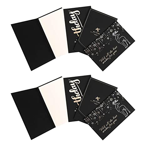 Amazon Com 8 Pcs Black Gold Foil Thank You Cards All