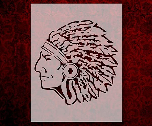 Indian Chief Head 8 5 x 11 Inches Custom Stencil (265)