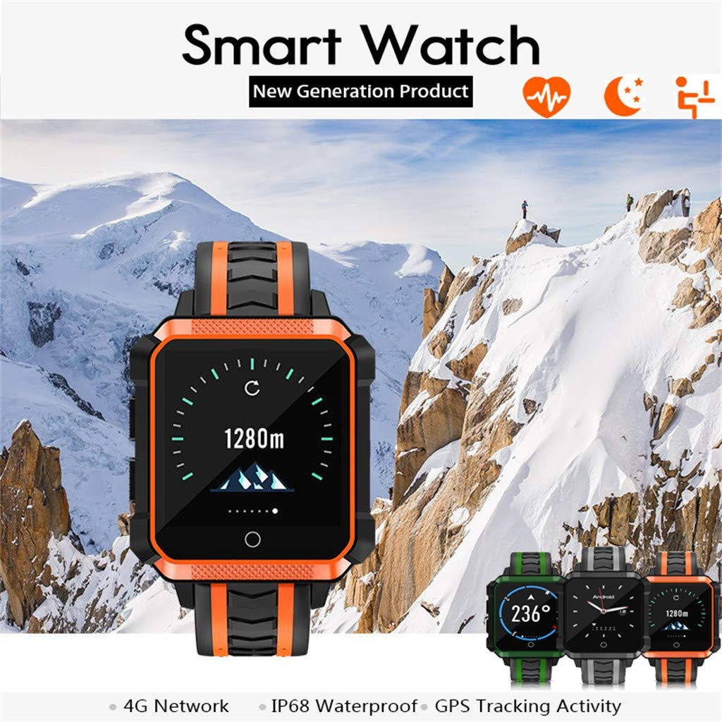 LLJEkieee H7 4G Smart Watch 1.54inch Color Screen IP68 Waterproof for Android Phone GPS +ROM 8G WiFi GPS SIM 5.0 MP Camera Smartwatch Heart Rate Sleep Monitoring Fitness Tracker (Green)