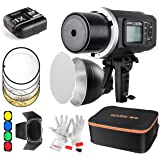 Godox AD600BM Bowens Mount 600Ws GN87 HSS Outdoor Flash Strobe Light 500 Full Power Flashes, 0.01-2.5S Recycle Time-With Carrying Case/Barn Door&Honeycomb/Standard Reflector/Color Gels/Soft Diffuser (Best Kit with X1N Trigger for Nikon)