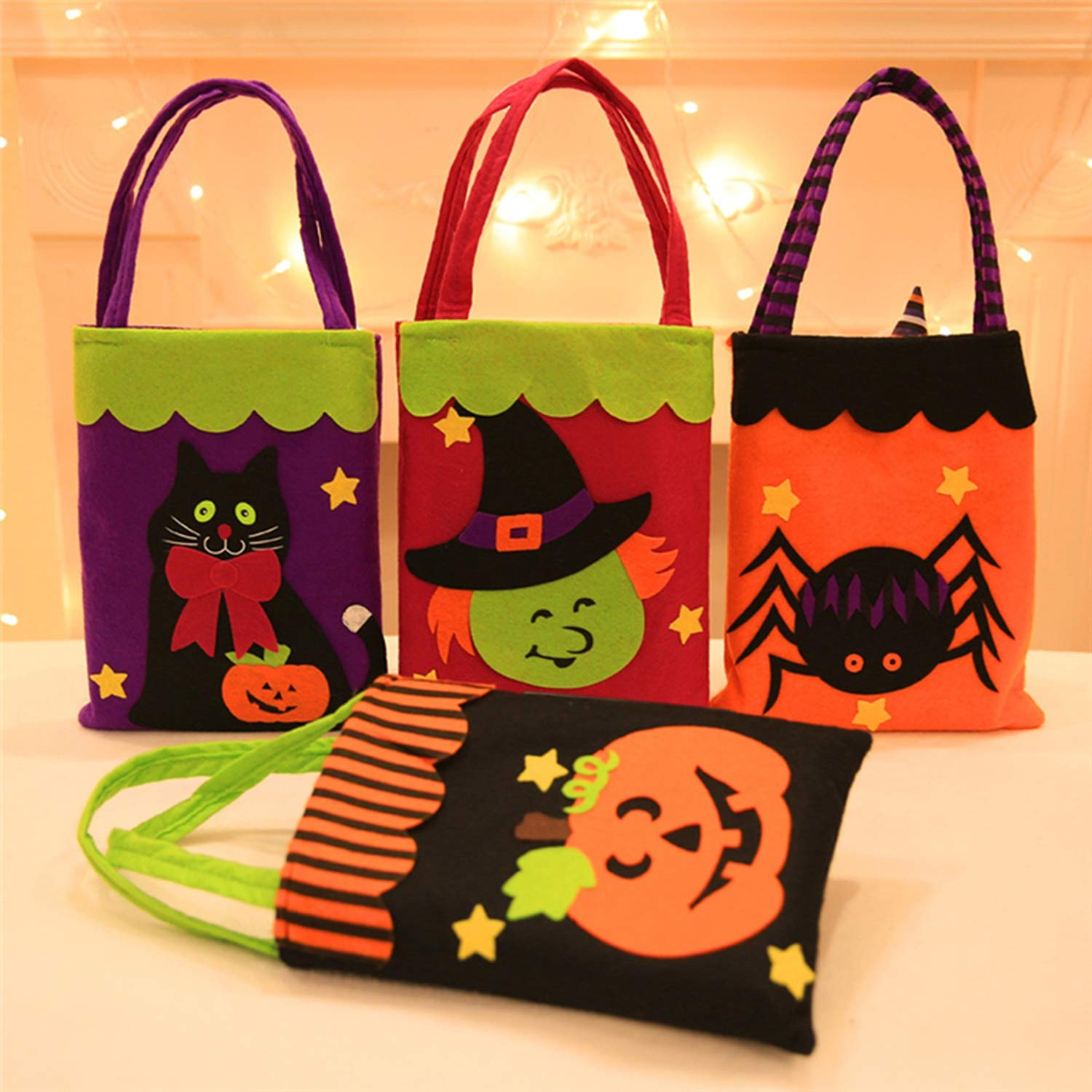 Halloween Candy Bag Gift Bags Pumpkin Trick Or Treat Bags Sacks Gift for Kids Event Party,D by Acereima (Image #3)
