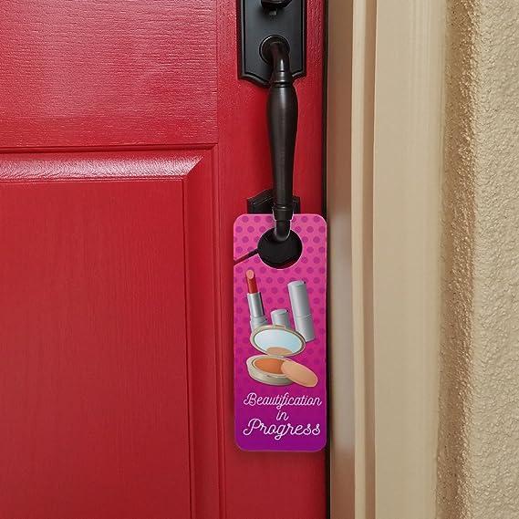 Beautification in Progress Makeup Plastic Door Knob Hanger Sign